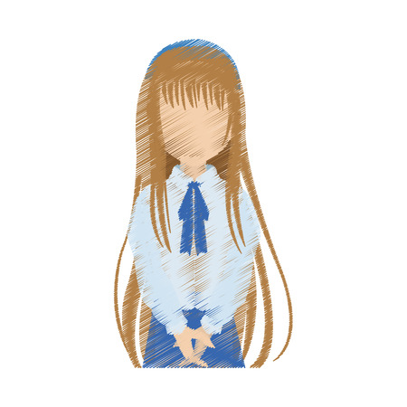 faceless young school girl with long light brown hair  icon image vector illustration design Illustration
