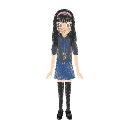 cute anime or manga school girl with black hair and blue eyes icon image vector illustration design
