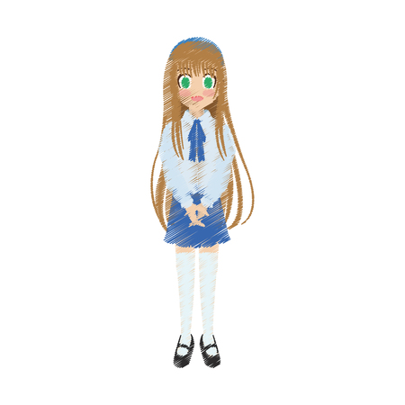 cute anime or manga school girl with light brown hair and green eyes  icon image vector illustration design Illustration