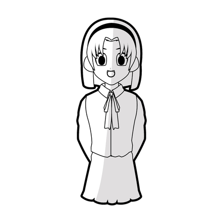 cute young girl with short straight hair wearing school uniform anime or manga icon image vector illustration design
