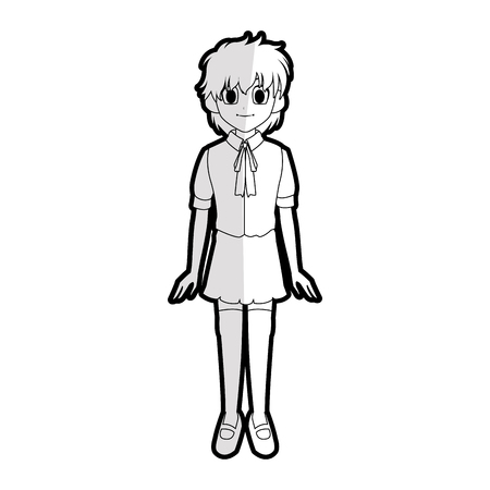 Girl with short scruffy hair wearing school uniform  anime or manga icon image vector illustration design