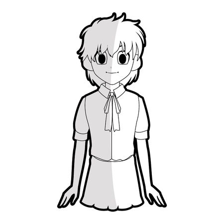 Cool young girl with short scruffy hair wearing school uniform  anime or manga icon image vector illustration design