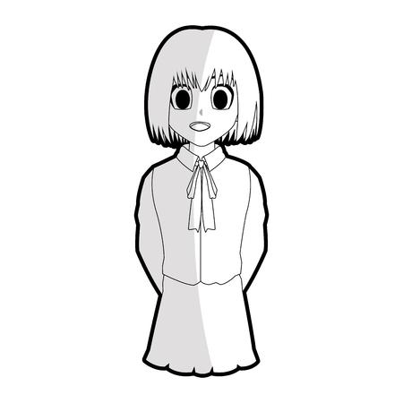 Cute  girl with short straight hair wearing school uniform anime or manga icon image vector illustration design