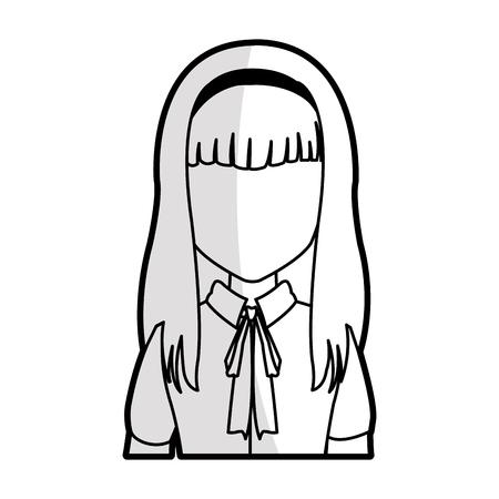 Mujer con el pelo largo y recto con la imagen del icono franja ilustración vectorial de diseño