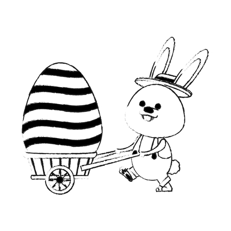 easter bunny with egg  icon image vector illustration design