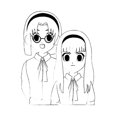 cute young school girls anime or manga icon image vector illustration design Illustration