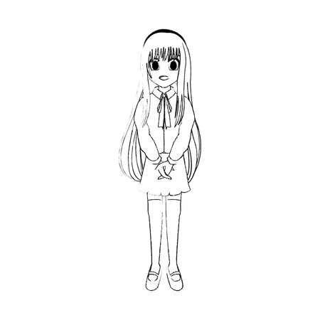 cute young girl with long straight hair anime or manga icon image vector illustration design Illustration