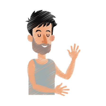 happy bearded man with closed eyes icon image vector illustration design