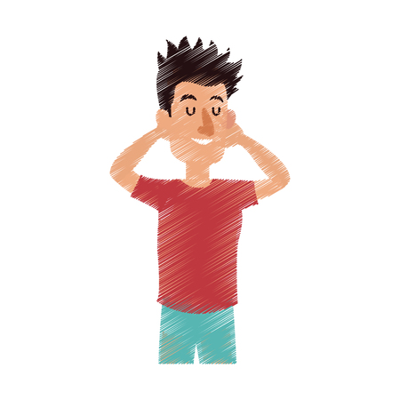 happy man with closed eyes icon image vector illustration design Illustration