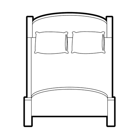 single bed top view. Double Bed Topview Icon Image Vector Illustration Design. Single Top View A
