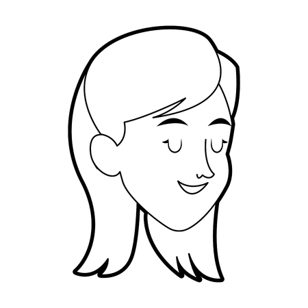 pretty eyes: Happy pretty woman with closed eyes  icon image vector illustration design.