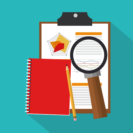 achievement concept: Notebook and documents with magnifying glass over blue background. colorful design. vector illustration Illustration