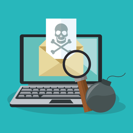 computer with cyber secuirty related icons over blue background. colorful design. vector illustration Illustration