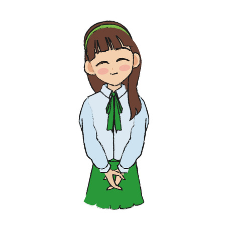 anime young: anime girl wearing school uniform, icon over white background. colorful design. vector illustration