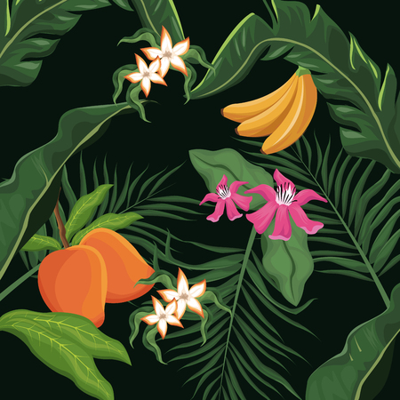 tropical fruits and flowers leaves palm wallpaper vector illustration eps 10