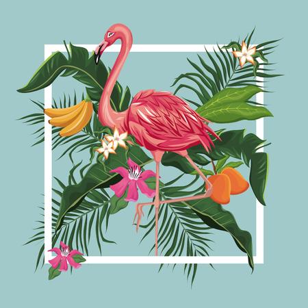 flamingo bird mango banana leaves exotic tropical bird vector illustration eps 10
