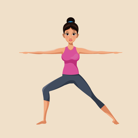 aerobics class: woman make yoga exercise image vector illustration eps 10 Illustration