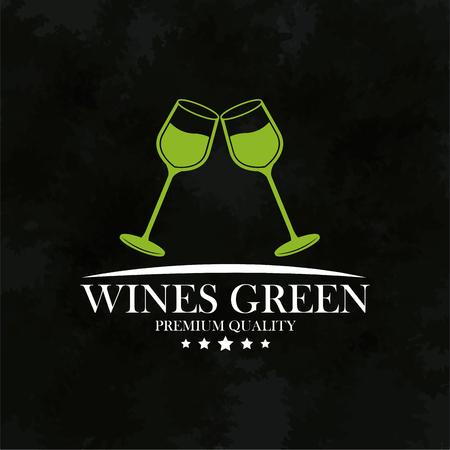 wines green premium quality emblem vector illustration eps 10 Çizim