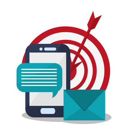 handphone: Smartphone, target and  envelope icon over white background. Colorful design. Vector illustration