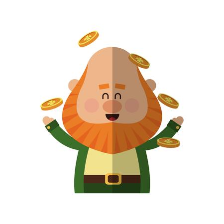 Irish leprechaun with golden coins over white background. colorful design. vector illustration