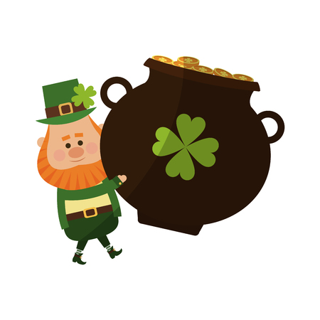 clover leaf shape: Irish leprechaun and pot with golden coins over white background. colorful design. vector illustration