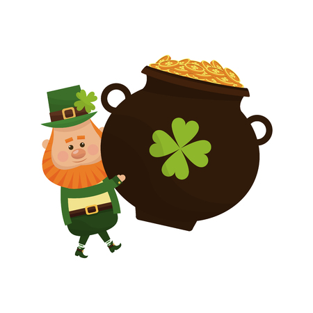 celtic background: irish leprechaun and pot with golden coins over white background. colorful design. vector illustration Illustration