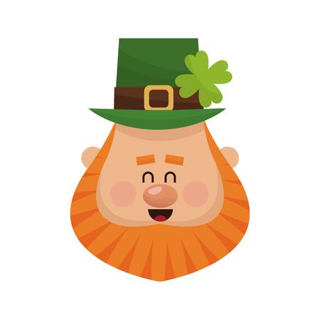 celtic background: irish leprechaun icon over white background. colorful design. vector illustration