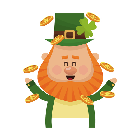 celtic background: gold coins and irish leprechaun icon over white background. colorful design. vector illustration