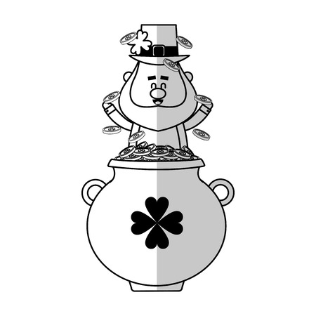 irish leprechaun with pot with coins over white background. vector illustration