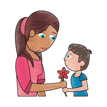 drawing boy giving flower mother celebration vector illustration