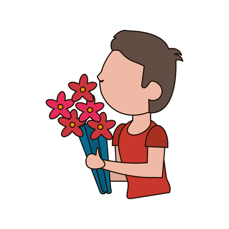 happy woman: drawing son kid flower gift vector illustration