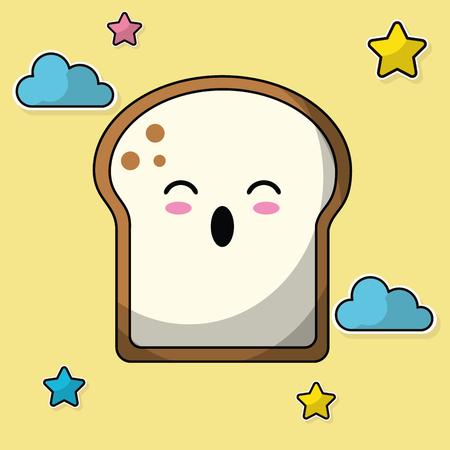 sliced bread baked image vector illustration Illustration