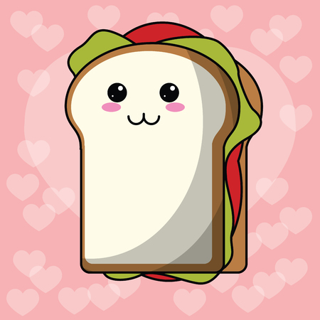sandwich heart background vector illustration