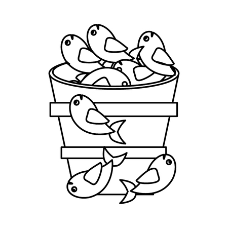 fish pot miracle jesus christ religious outline vector illustration Illustration