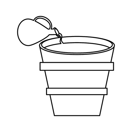 testament: miracle water wine jar and pot wooden outline vector illustration