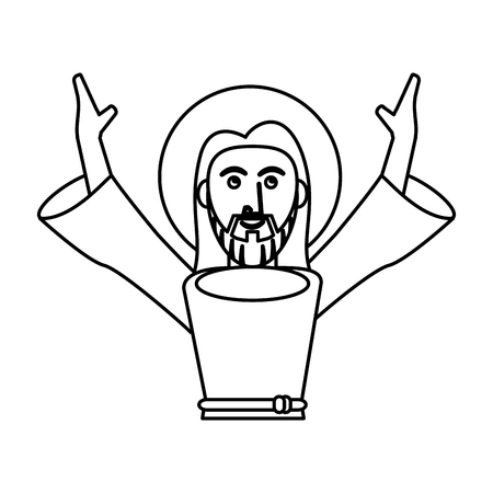 jesus christ catholic pray outline vector illustration