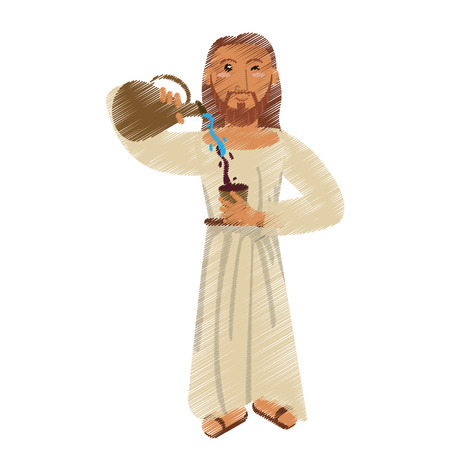 drawing jesus christ miracle water wine design vector illustration