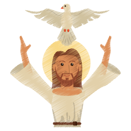 drawing jesus christ holy spirit design vector illustration