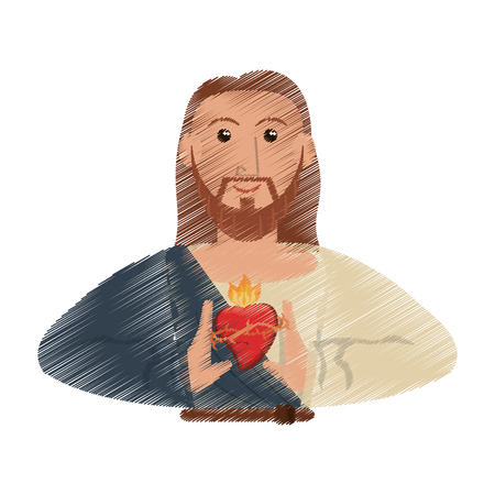 drawing jesus christ sac heart design vector illustration