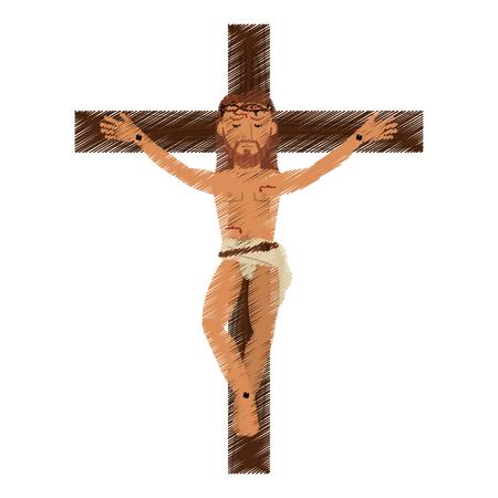 ベクトル図の十字架につけられたイエス ・ キリストを描画  イラスト・ベクター素材