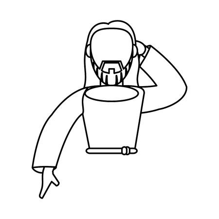 almighty: jesus christ catholic faceless outline vector illustration Illustration