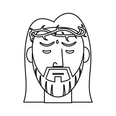 jesus christ crown of thorns outline vector illustration Illustration