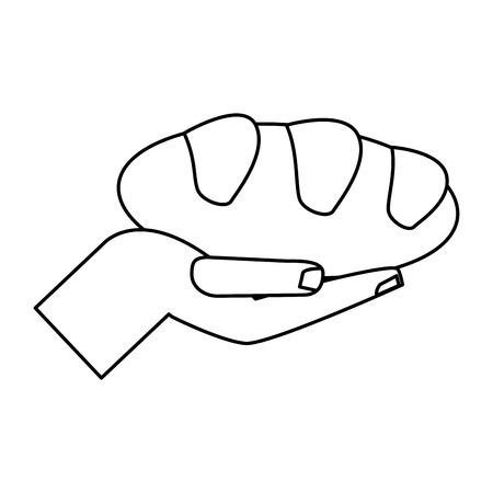 liturgy: hand holding bread miracle symbol outline vector illustration