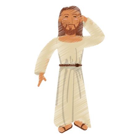 drawing jesus christ thinking image vector illustration Illustration