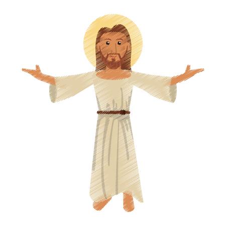 sac: drawing jesus christ character vector illustration
