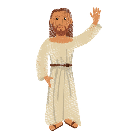 drawing jesus christ christianity design vector illustration
