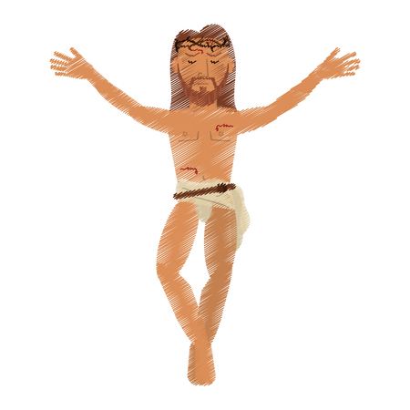 drawing jesus christ  design vector illustration Illustration