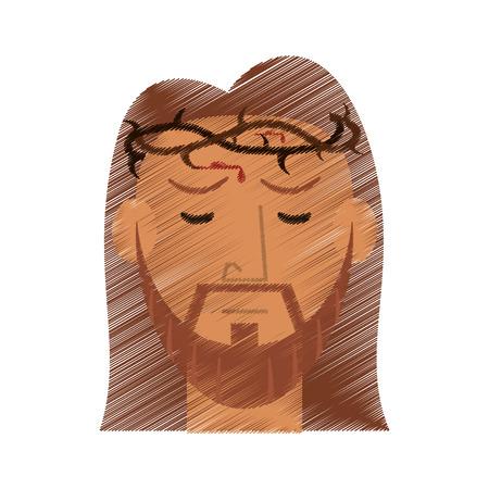drawing face jesus christ crown design vector illustration