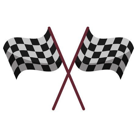 crossed checkered flags: crssed flag start racing design vector illustration