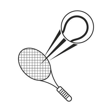 tennis ball racket sport icon thin line vector illustration